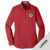 LW100 - N124E003 - EMB - Ladies Long Sleeve Poplin Shirt