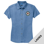 LSP11 - N124E003 - EMB - Ladies Short Sleeve Denim Shirt